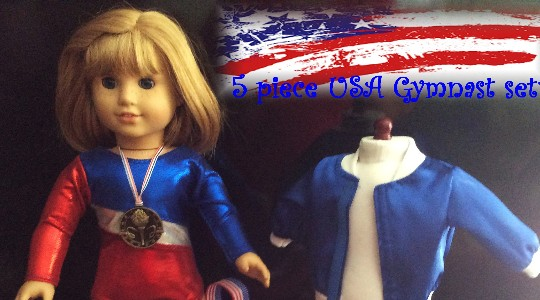 Doll gymnast olympic team USA leotard jacket bag medal towel set