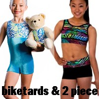 DiscountLeotards discount gymnastics leotards GK Snowflake Motionwear Alpha Factor CL Activewear Dreamlight Look-It Activewear Biketards Unitards 2 piece crop top short set