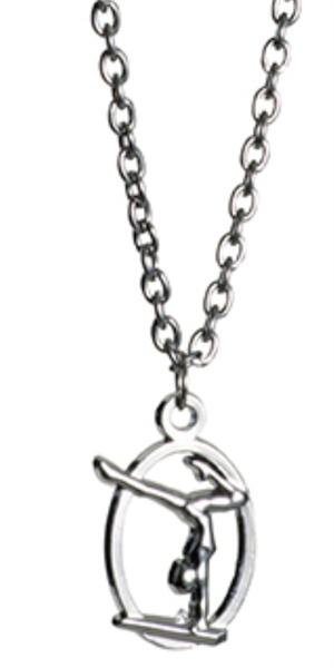 W1378 Sil Nos Oval Gymnastics Gymnast Necklace