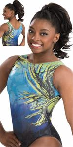 E3285 Simone Biles Tropic Thunder Leotard Gk Elite