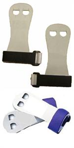 Bailie palm grips for your beginner gymnast. Black or purple velcro.