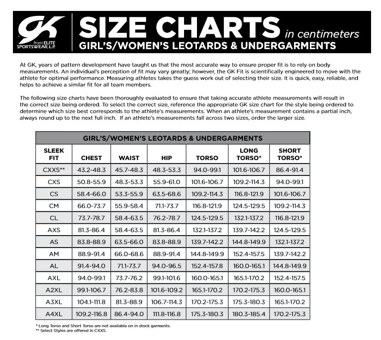 GK Elite Gymnastics Leotards Size Chart in Centimeters