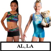 DiscountLeotards discount gymnastics leotards GK Snowflake Motionwear Alpha Factor CL Activewear Dreamlight  Look-It Activewear CHILD SIZE BIKETARDS unitards crop top micro shorts AL