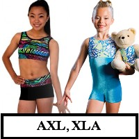 DiscountLeotards discount gymnastics leotards GK Snowflake Motionwear Alpha Factor CL Activewear Dreamlight  Look-It Activewear CHILD SIZE BIKETARDS unitards crop top micro shorts AXL