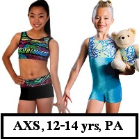DiscountLeotards discount gymnastics leotards GK Snowflake Motionwear Alpha Factor CL Activewear Dreamlight  Look-It Activewear CHILD SIZE BIKETARDS unitards crop top micro shorts AXS