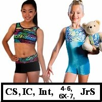 DiscountLeotards discount gymnastics leotards GK Snowflake Motionwear Alpha Factor CL Activewear Dreamlight  Look-It Activewear CHILD SIZE BIKETARDS unitards crop top micro shorts