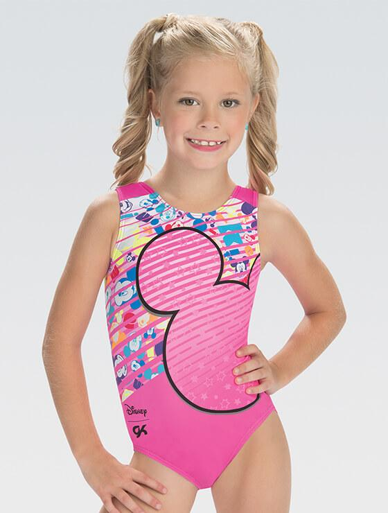 8dec64f9abd2 DSY162 Mickey Mouse Pink Pop sublimated subfuse and berry nylon gymnastics  leotard.