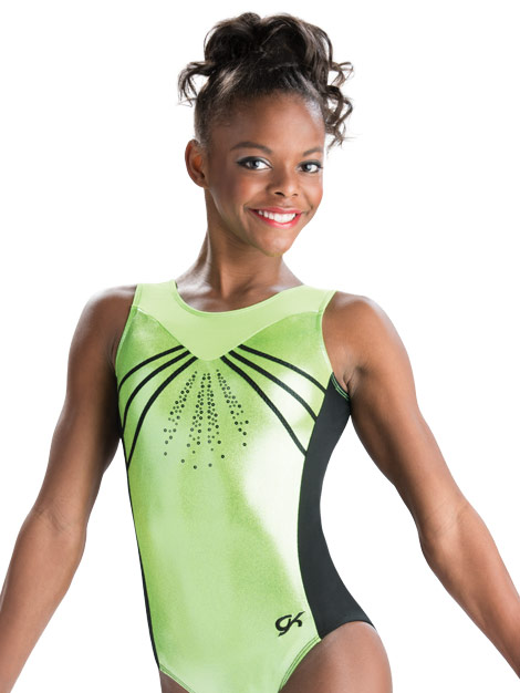 New GK ELITE Leotard GYMNASTICS BlackNylon Spandex Tank NEON GREEN Leo Size CL