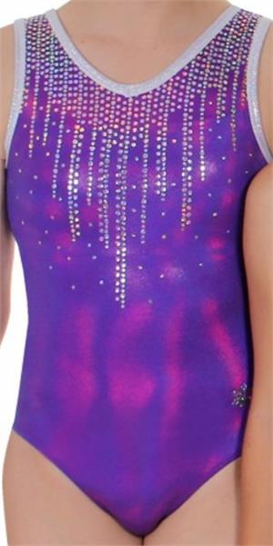 6c92b7ef2720f2 Cascade Purple - Purple and silver mystique holograms sequined tank  gymnastics leotard with free matching scrunchie. CM