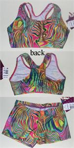 f682774c013b0 1631-1407-204 Bold Surf Spray waves on poly spandex sports bra and micro  mini shorts. AXS