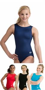 4f037a550453 2012 GK Basics scoop neck nylon spandex tank gymnastics leotard with  matching scrunchie.
