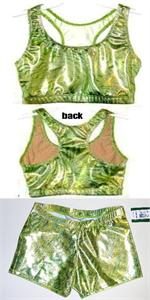 2d415880de807 3120-7101-368 Blender Lime hologram racer back sports bra crop top and  micro mini shorts. AXS