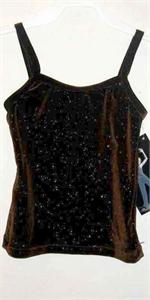 2d520ec20f585 3503-789 Plush choclate glitter velvet cami strap camisole top. IC  intermediate child