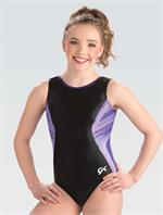 3834 Imperial Black GK gymnastics leotard with free hair scrunchie. c5952c81498