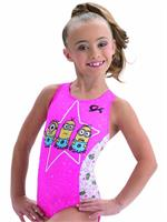 0004572d7dac E3768 Star Minion Kevin Carl Dave from Despicable Me - Sublimated subfuse  and shocking pink nylon racerback tank gymnastics leotard.