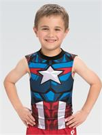 e9143febf3f8 MV034 Activate Captain America Marvel © Boy s Men s Gymnastics Compression  Shirt Tunic