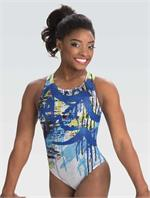 3e9ee62b0a8a E3666 Fast Dash Simone Biles sublimated holotek racer back tank gymnastics  workout leotard by GK Elite. Incl. free scrunchie.