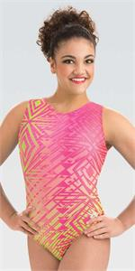 e3717 Aztec Party Laurie Hernandez Sublimated tank gymnastics leotard by GK